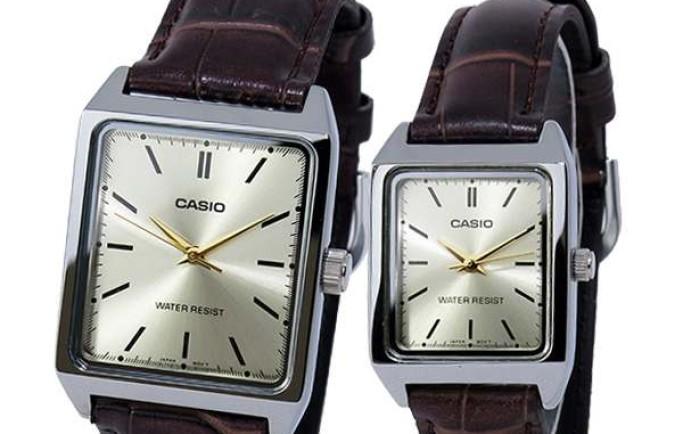 Đồng hồ cặp đôi Casio MLP-V007L-9E mặt chữ nhật dây da lạ mắt