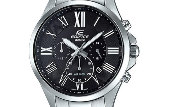 Đồng hồ Edifice EFV-500D-1AV sáng bóng nổi bật từ sắc đen và trắng