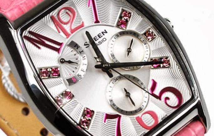 Đồng hồ nữ SHE-3026L-7A2 mặt cách điệu nổi bật cùng dây da màu hồng