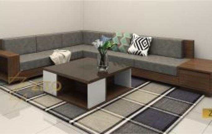Sofa gỗ tự nhiên góc- một sản phẩm từ Nội thất Zito.